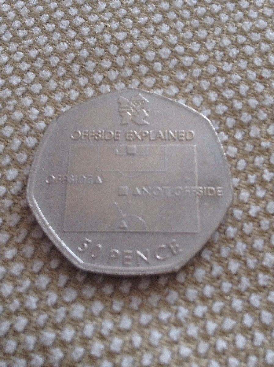 fifty pence coin got change explains offside rule