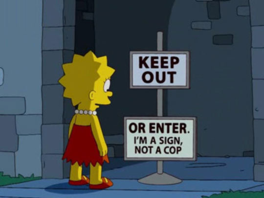 fj - funny signs from the simpsons