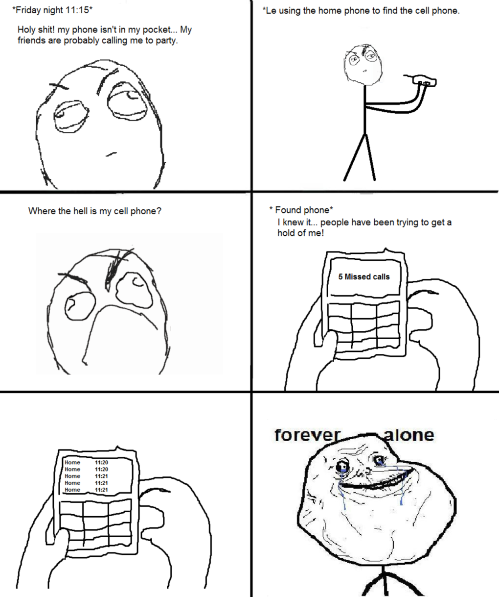forever alone finding your cellphone