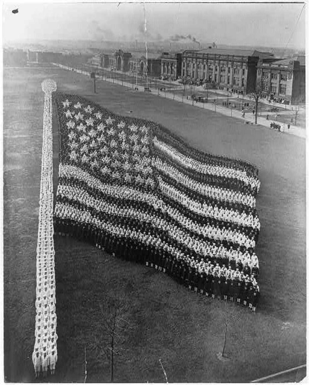 formation photograph american flag