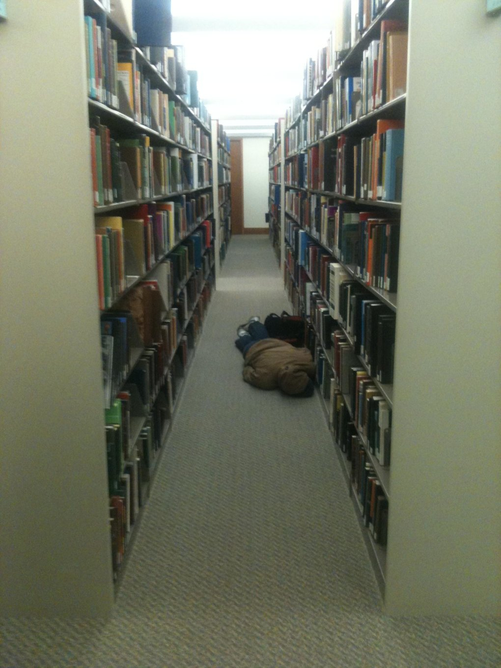 found him during finals library