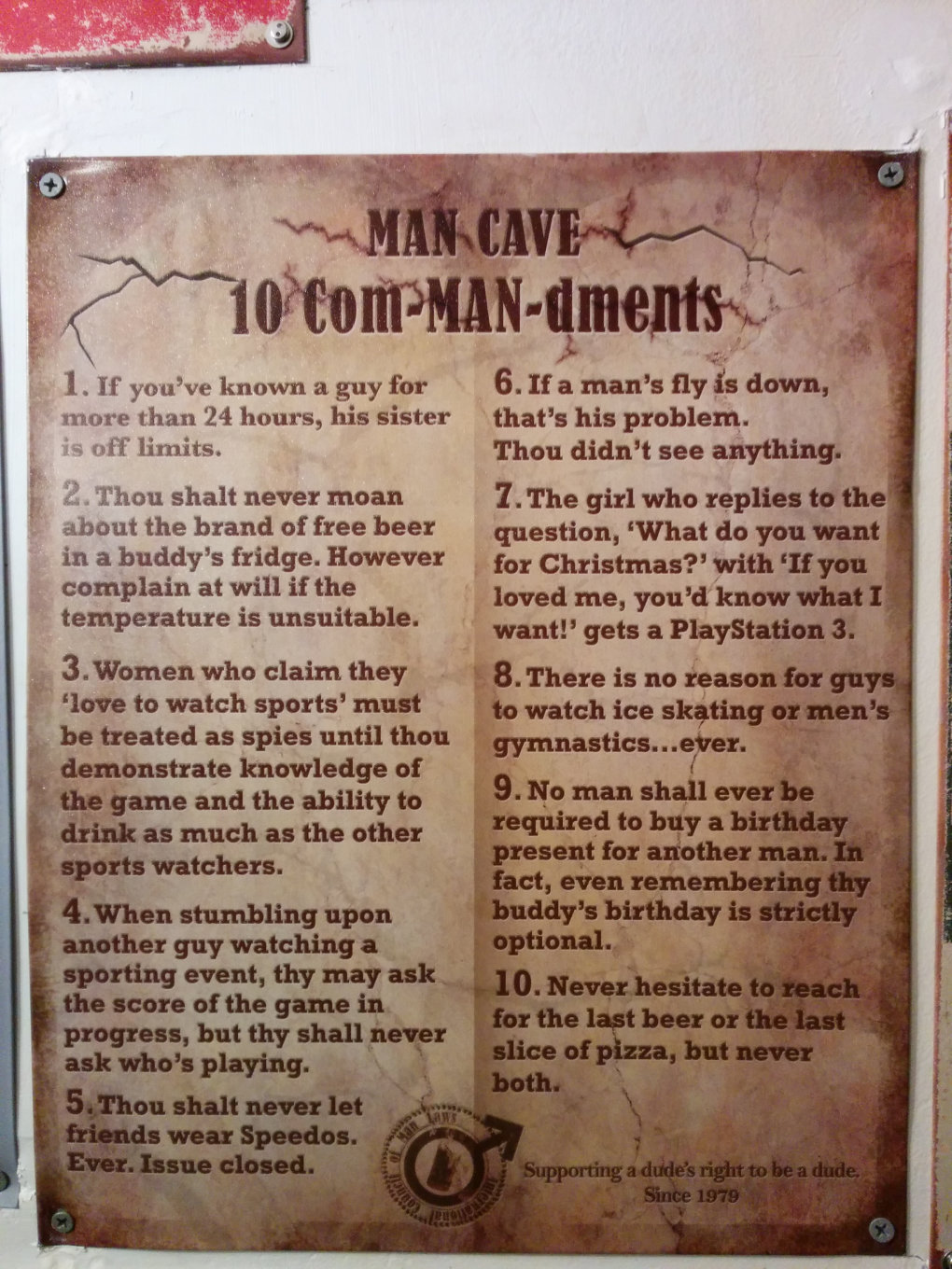 found these man cave rules bathroom local bar