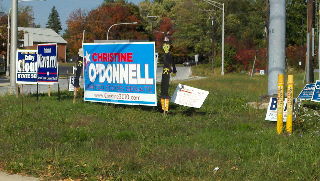 found christine odonnell sign side road