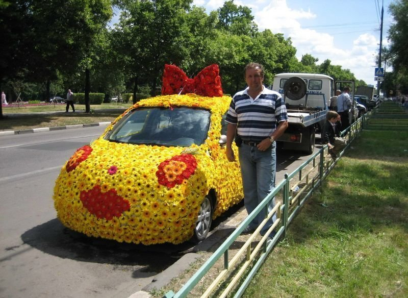 funny car picture covered flowers