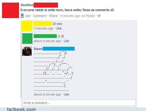 funny facebook fails what whenever someone tells smile