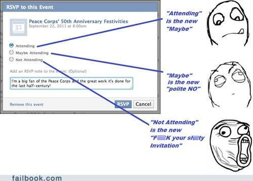 funny facebook fails what rsvps really mean