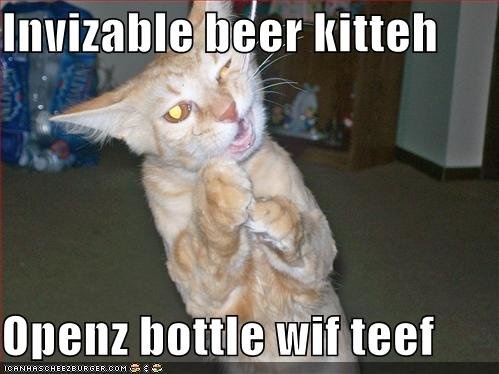 funny pictures invisible beer opener cat