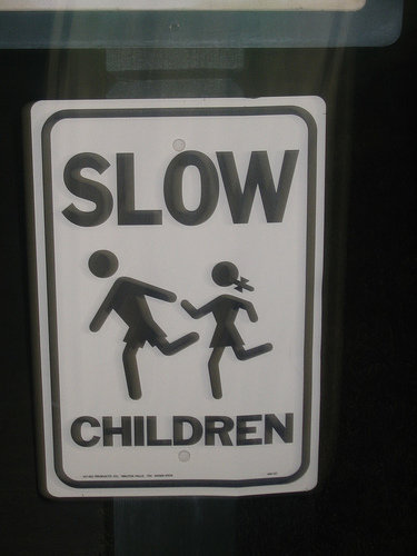 funny sign slow children