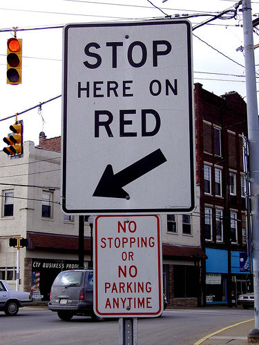 funny sign stopping
