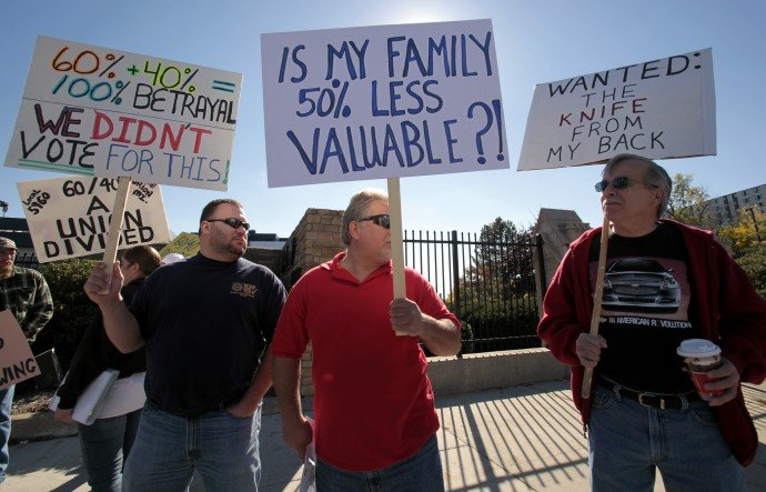 general motors orion assembly plant workers protest detro