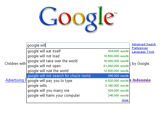 googlewill - best ever google search suggestions