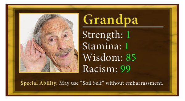 granddad - 7 family members and their stats