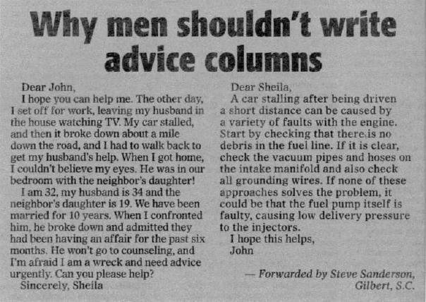 haha211 - why men shouldn't write advice columns