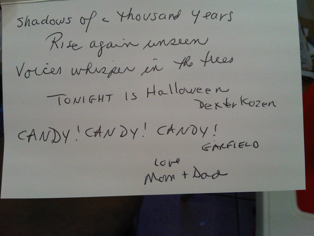 halloween card from parents