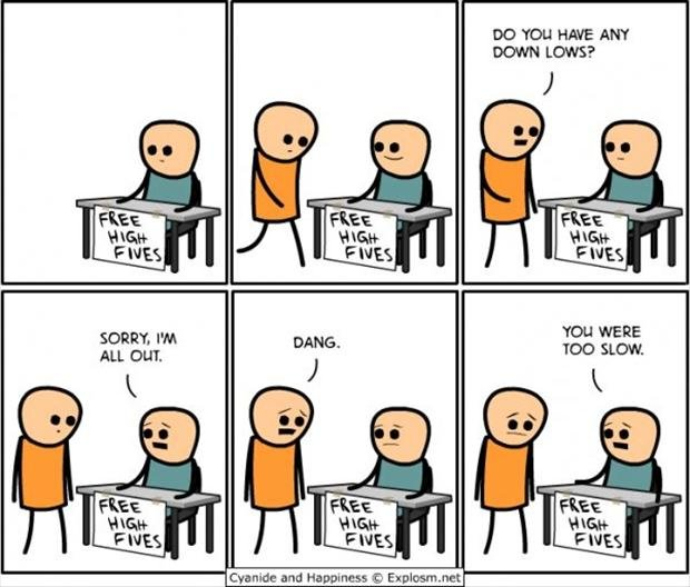 high fives down low funny comic