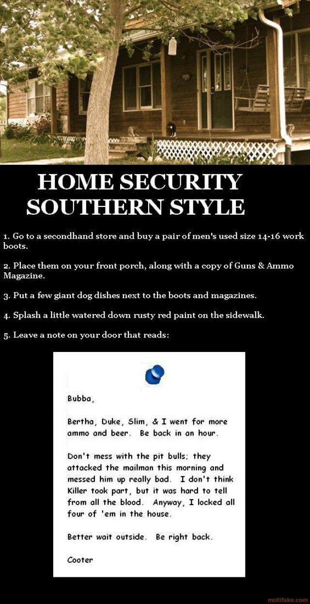 home security southern style right price demotivational poster