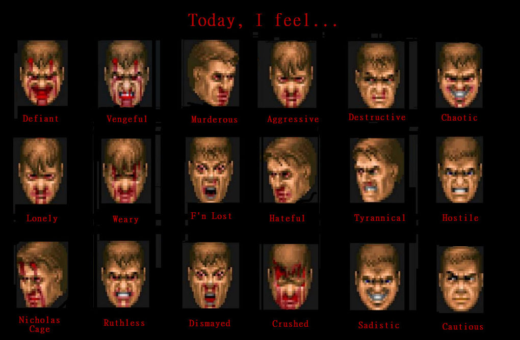 feel today express doomguy faces