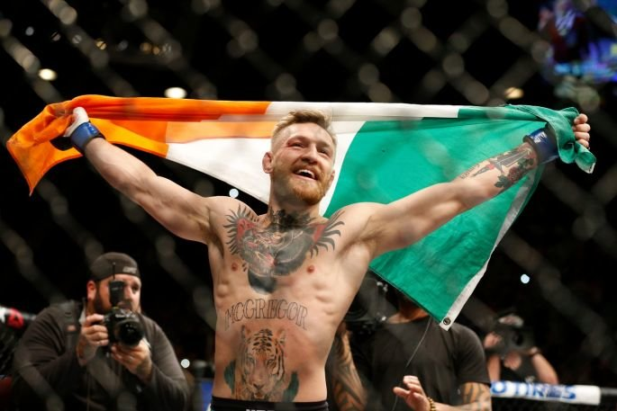 image - conor mcgregor graphical portrait on big screen at ufc 194