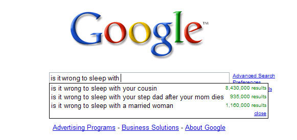 is it wrong to - best ever google search suggestions