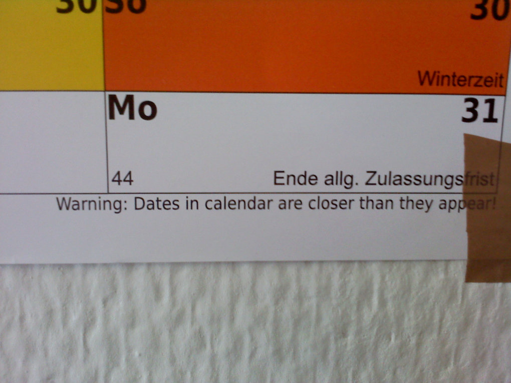 discovered bottom notice calendar which got from university