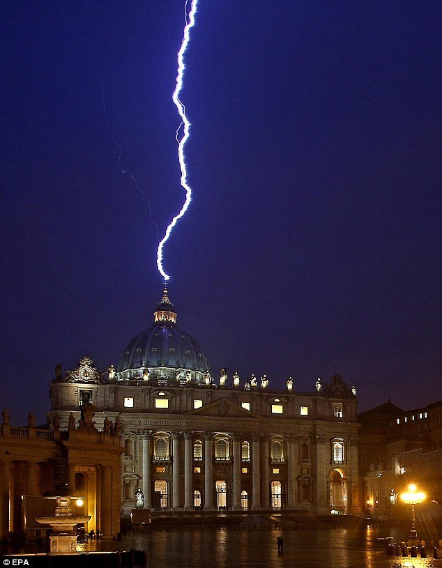 lightning strikes vatican
