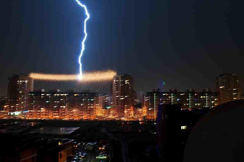 lightning striking power cable