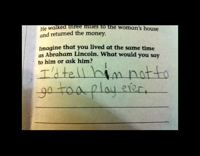 lincoln - funny test answers