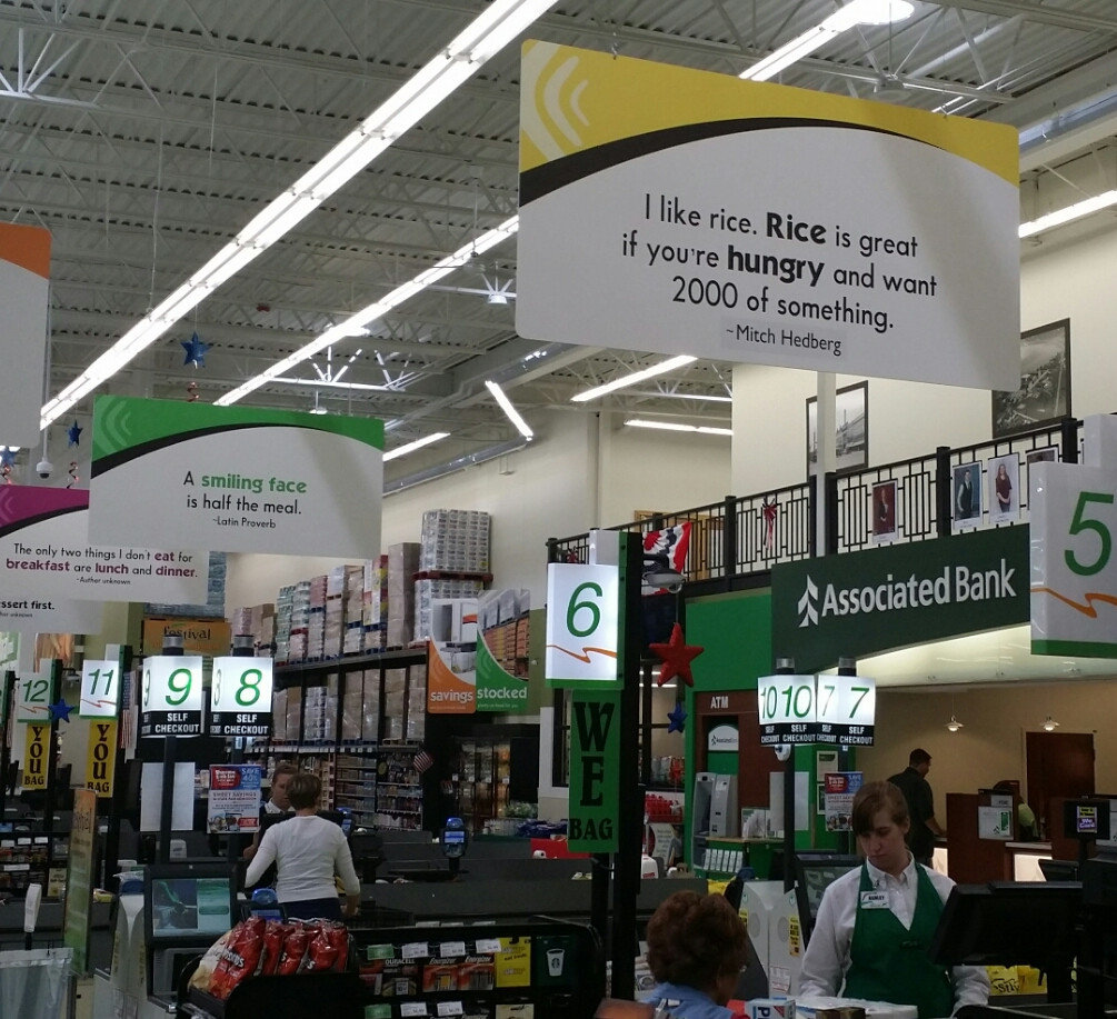 local grocery store recently fixed signs credit where credit due