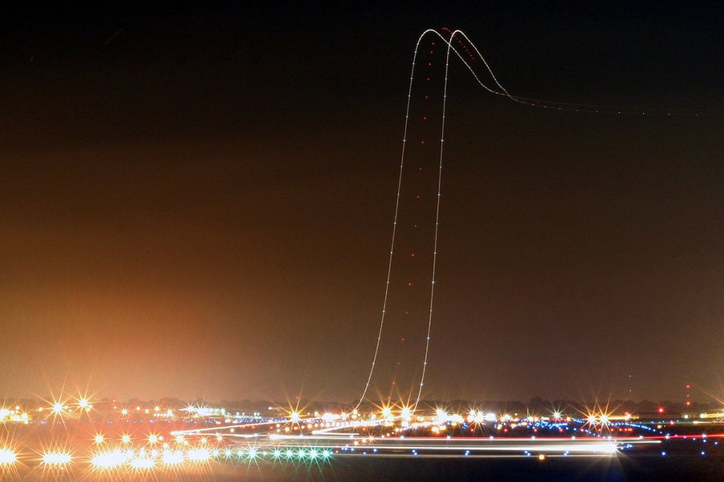 long exposure airliner takeoff