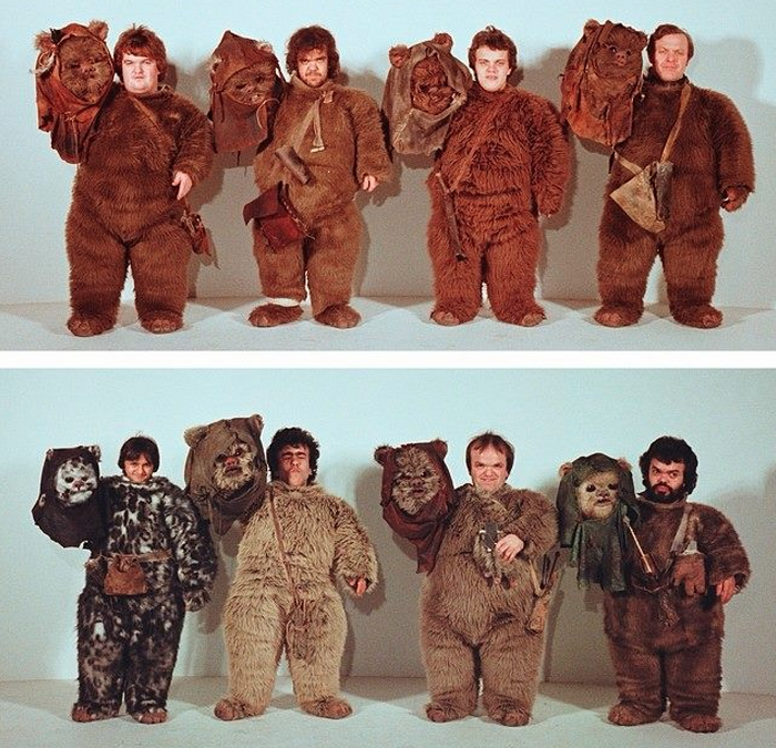 look actors underneath ewok masks for return jedi circa