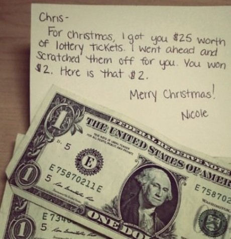 lottery scratch tickets make good minute christmas gifts