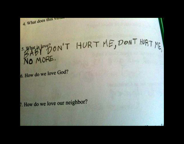 love - funny test answers