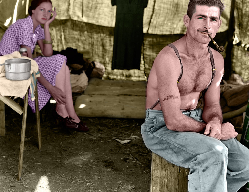 man his wife colorized