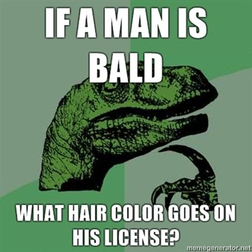 man bald what hair color goes his license