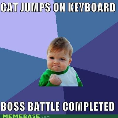 memes cat jumps keyboard boss battle completed