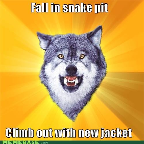 memes courage wolf fall snake pit climb out jacket