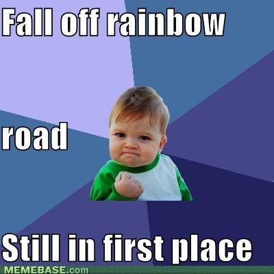 memes fall off rainbow road first place