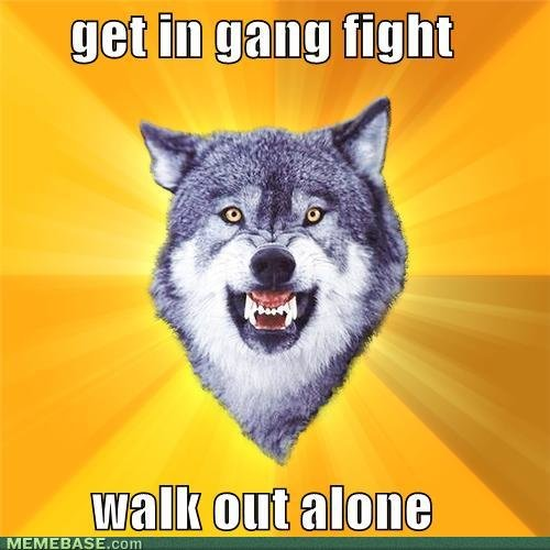 memes get gang fight walk out alone