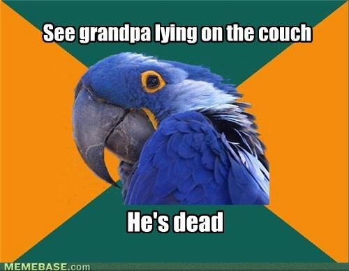 memes see grandpa lying couch