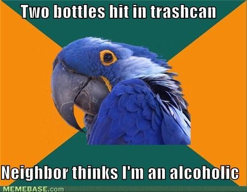 memes two bottles hit trashcan neighbor thinks alcoholic