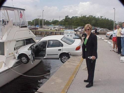normal car crashes into boat weird crash pictures