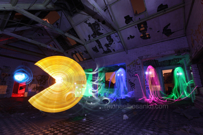 pacman created from light longexposure photography