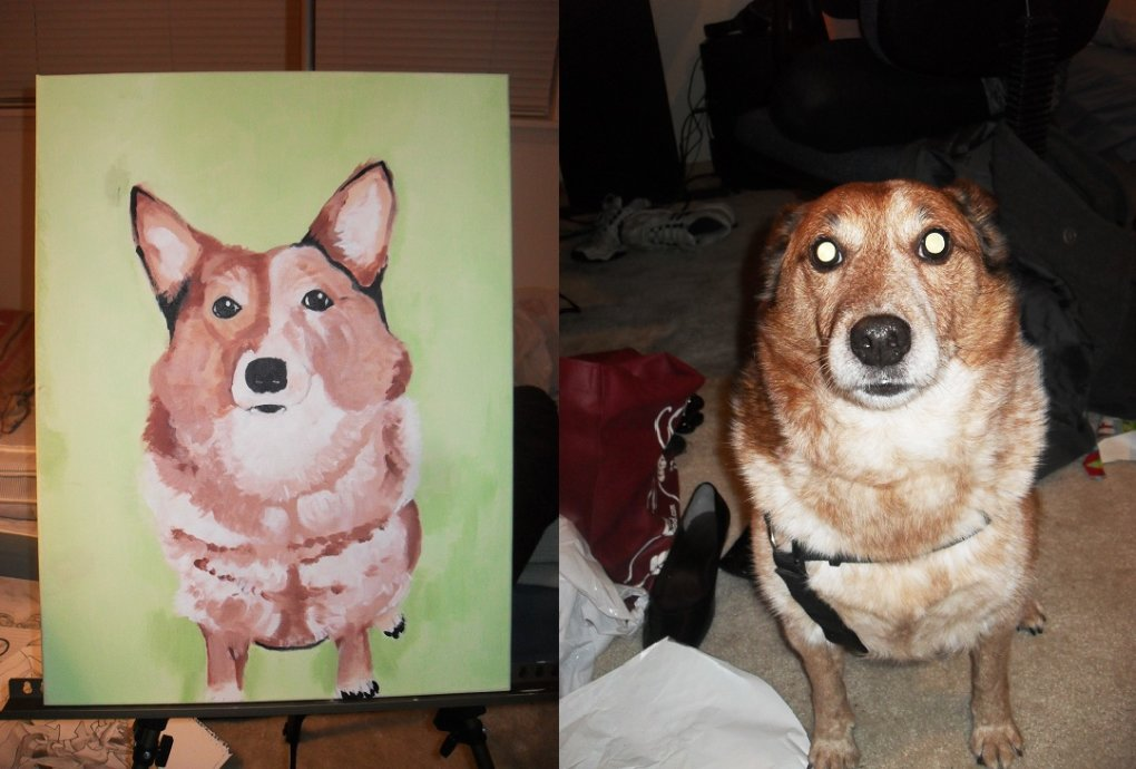 painted half corgie first painting done