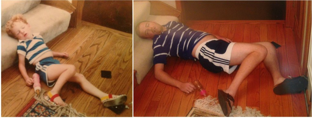 parents took pictures asleep weird positions when kids recreated photos adults