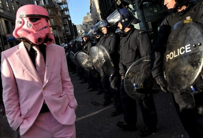 pink protester
