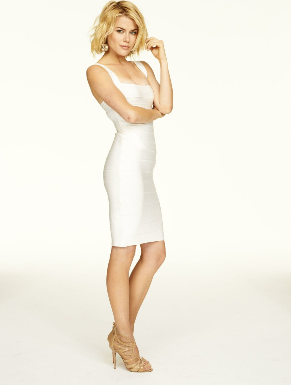 rachael taylor form fitting white dress