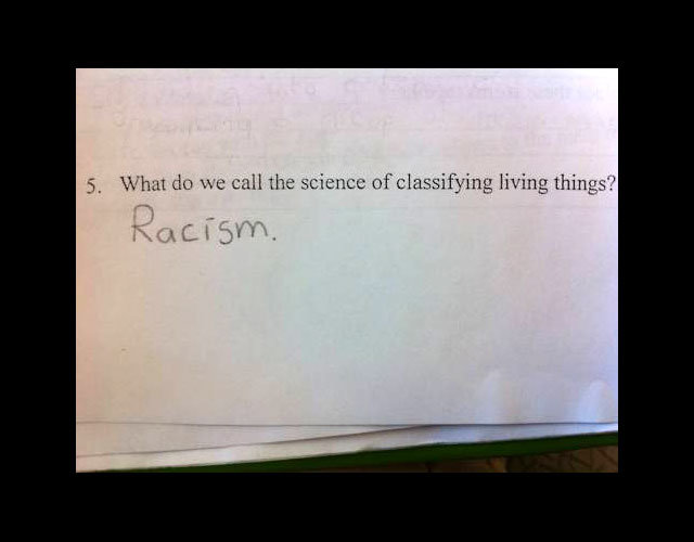 racism - funny test answers
