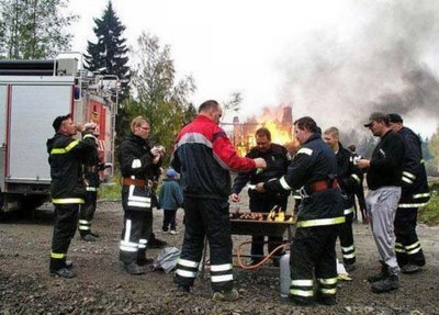 relaxing fire fighters