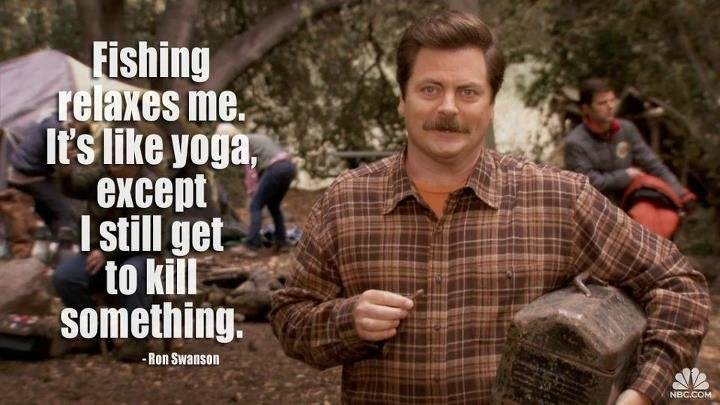 ron swanson yoga fishing