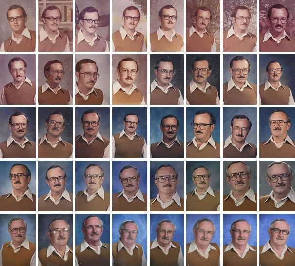 schoolteacher wears exact same outfit for yearbook picture forty years row